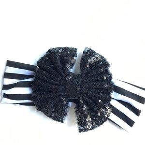 Other - BLACK WHITE STRIPE sequin hair bow headband